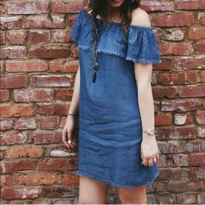 Dresses & Skirts - Chambray Jean Off The Shoulder Dress